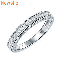 Round White Cz 925 Sterling Silver Wedding Band Engagement Ring For Women 5-10