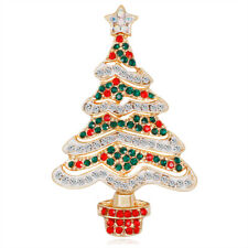 Celebration Party Pins and Brooches Christmas Tree Multi Color Gold Plated