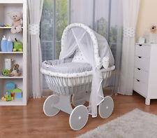 WALDIN Baby Bollerwagen,Stubenwagen,komplett mit Zubehör,Stoffe grau/Sterne-grau
