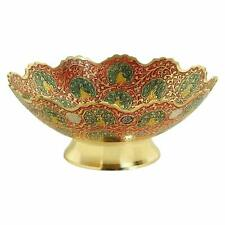 Peacock Design Decorative Purpose Dry Fruit Bowl Red Color Brass
