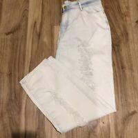 NIcki Minaj Women's Size 15/16 Ripped Destroyed High Rise Blue Jeans Acid Washed