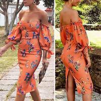 Boho Women Summer Off Shoulder Lantern Sleeve Floral Printed Midi Bodycon Dress