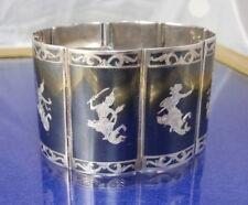Vintage Siam Dancing Figures Sterling Silver  Bracelet