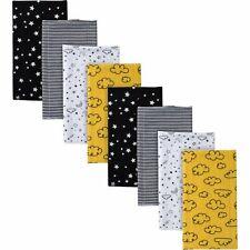 8-Pack Boys Stars Flannel Burp Cloths