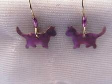 Estate Vintage Holly Yashi Anodized Niobium Metal Dangling Cat Earrings