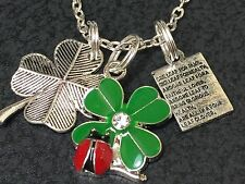 "4 Leaf Clover & Clover Poem & Lady Bug Mix A Charm Tibetan Silver 18"" Necklace"
