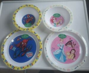 Set Of 2 Disney Princess Marvel Spiderman Plastic Plate And Bowl stocking filler