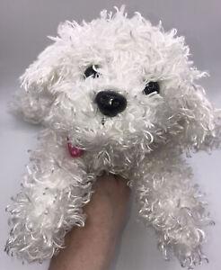 """Barbie White Plush Dog Electronic Barking Sneezing Light Up Nose 12"""" Long TESTED"""