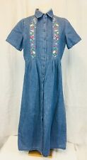 VIP Petites Women's Modesty Denim Maxi Dress. Embroidered. Short Sleeves. 8P.