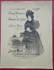 Partition: CINQ MINUTES A ARMEE DU SALUT Jules MOY Louis GUETEVILLE du chat Noir
