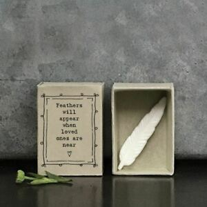 Porcelain Feather Matchbox Ornament | East Of India Friends Sentimental Gift