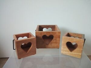 wooden heart boxes with handles, candle holders, three, 3, various sizes