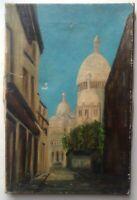 Tableau ancien Ruelle Montmarte Paris Huile sur toile à restaurer c1920