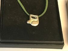"""Music Note TG31A English Pewter On 18"""" Green Cord Necklace"""