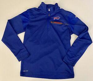 Nike Buffalo Bills NFL On Field Apparel Dri-Fit Blue 1/4 Zip Pullover Mens Small
