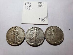 1936, 1941, 1942 Walking Liberty Half Dollars  XF+ - USC-0208