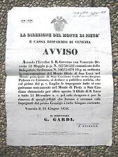 J710-LOMB.VENETO-VENEZIA UNIFICAZIONE MONTE DI PIETA' 1838