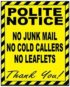 Polite NO COLD CALLERS, JUNK MAIL or LEAFLETS Warning Sign Self Adhesive Sticker