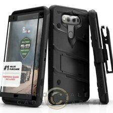 LG V30 Bolt Case W/Stand - Black/Black Case Cover Shell Protector Guard Shield