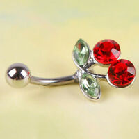 Belly Button Ring Navel Piercing JewelryCrystal Rhinestone Double Leaf CherryNSH