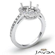 Classic 0.45Ct Halo Pave Set Diamond Engagement Oval Semi Mount Ring Platinum