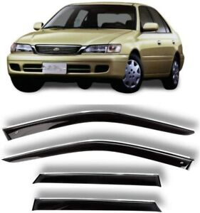 Chrome Trim Window Visors Guard Vent Deflectors For Toyota Corona Premio 1996-01