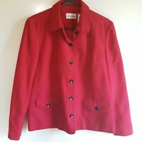 Alfred Dunner Women's Jacket Size 12 Faux Red Suede Black Stiching