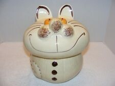 "VINTAGE 11.5"" BEIGE SMILING CAT CERAMIC COOKIE JAR GUC"