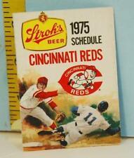 1975 Cincinnati Reds Baseball Pocket Schedule Stroh's Beer Sponsor