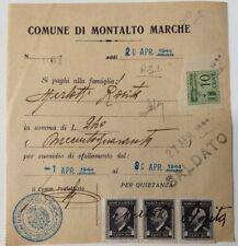 1944 XXII MARCHE DA BOLLO SU SUSSIDIO SFOLLAMENTO MONTALTO MARCHE