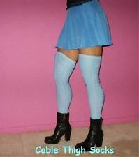 Cable Knit Thigh High Socks Long Over The Knee OTK Blue Long Classic School Girl