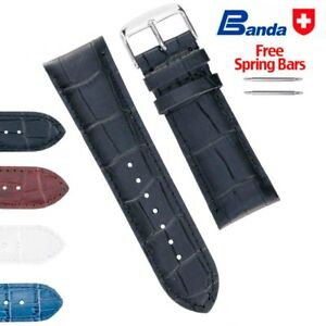 Banda Premium Grade Calfskin Alligator Grain Leather Watch Bands, Sizes 24-32mm