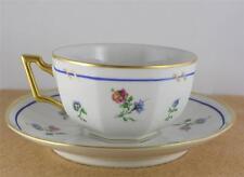 TV Limoges France Cup Saucer Set Blue Red Floral Gilt Rim Porcelain Octagonal