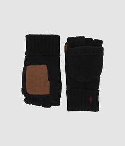 $90 Polo Ralph Lauren Men's Black Pop Top Convertible Wool Glove One Size
