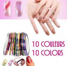 Lot 10  Rubans de 20 METRES Stickers Effet  Métallique ongle nail art déco