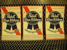 """PBR PABST BLUE RIBBON Beer ~ NEW ~ 3 PACK  STICKERS 3 1/4"""" X 5 1/2"""" Decal"""