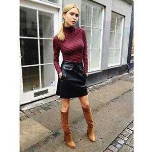 ZARA Black with Tan Soft Leather Mini Skirt with Pockets  S BNWT  BLOGGERS !!!!!