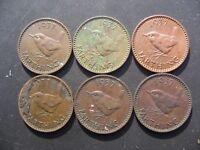 6 x George VI Farthings 1937,