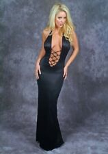 Plunging Back Split Black Lace-up Gown/Made in usa/Goth/Exotic Dancer/Model/s-m