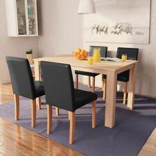 vidaXL Eettafel met Stoelen Kunstleer Eikenkleur en Zwart Eetkamerset Eethoek