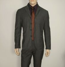 John Varvatos COLLECTION in GRAY Striped Peak Lapel 4 Btn Blazer Size 40 ITALY