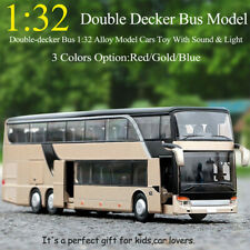 1:32 Alloy Double Layer Bus Pull Back Model Night View Die Cast Toy With Sound