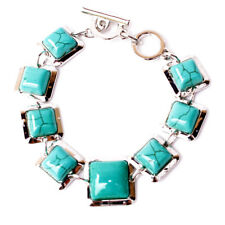 Gemstone Graduated Square Turquoise Silverfever Fashion Bracelet with