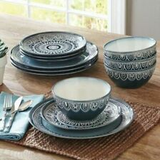 Better Homes and Gardens Teal Medallion 12 Pc Dinnerware Dining Room Set, Plates