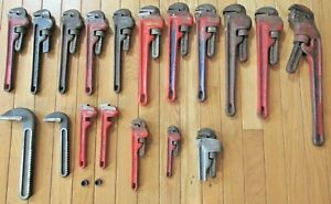 Ridgid Tools U.S.A. Lot of (14) Pipe Wrenches Plus Parts