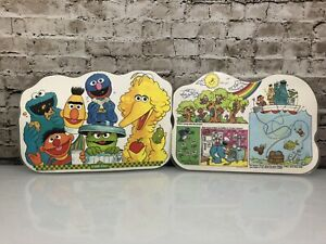 Vintage Sesame Street Laminated Placemats Set Of 2 Activity Double Sided 1982