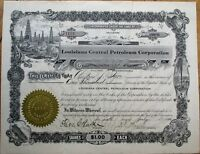 Oil - 'Louisiana Central Petroleum Corp.' 1920 Stock Certificate - 1000 Shares
