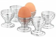 6 Egg Cup Chrome Spiral Serving Table Breakfact Boiled Holder Stand Wire Kitchen