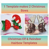 4 inch Plastic Hair bow template Christmas Elf & Reindeer Hair Bow Xmas