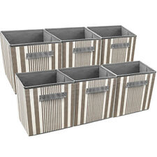 Sorbus Foldable Storage Cube Basket Bin, 6 Pack, Grey Taupe